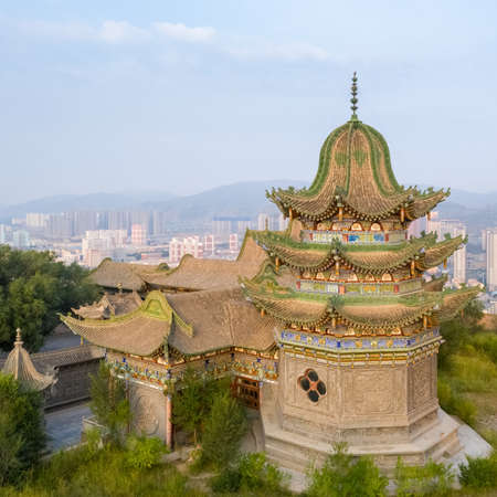 chinese islamic architecture, south mountain gongbei temple, xining city, qinghai province Stock Photo - 130098122