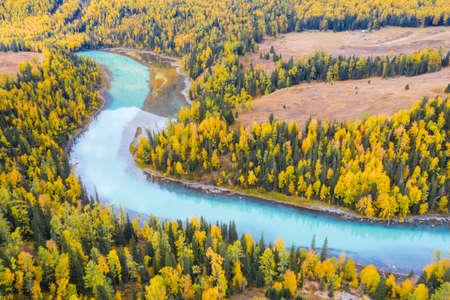 a bird's eye view of xinjiang kanas river landscape in autumn, China Zdjęcie Seryjne