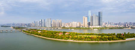 changsha skyline panorama and beautiful xiang river, hunan province, China