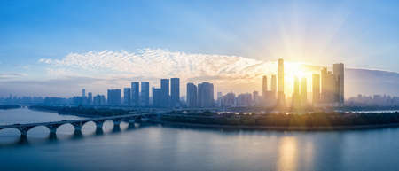 changsha skyline panorama in sunrise and beautiful xiang river, hunan province, China