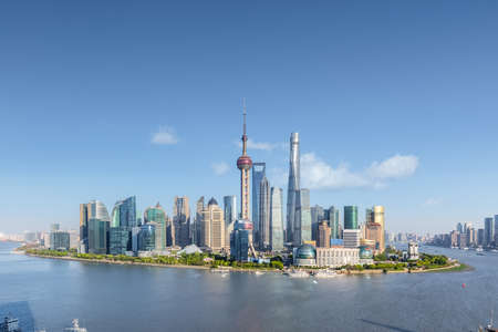 shanghai skyline in sunny sky, beautiful cityscape of pudong financial center