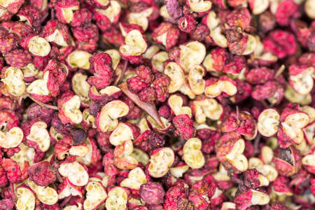 Sichuan pepper close-up, chinese traditional food condiments, Zanthoxylum is the raw material of flavors and spices.
