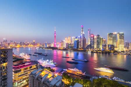 charming night view of the north bund in shanghai, China