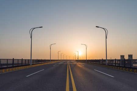 bridge deck road in sunrise, jiujiang yangtze river bridge closeup, China Imagens