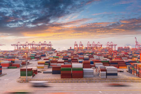 shanghai container port in sunset, China Stock Photo