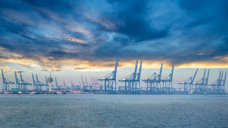 container terminal at dusk, tianjin port landscape Imagens