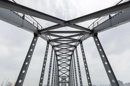 steel bridge closeup, structural support of steel trusses