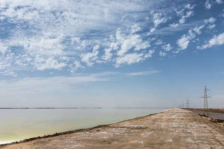 salt lake with  dirt road, qinghai province, China