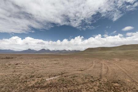 wild field with car tracks on plateau, kunlun mountain hinterland, qinghai, China.