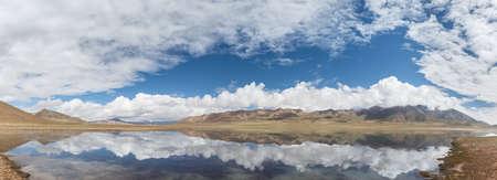 panoramic view of plateau lake and blue sky reflection, beautiful natural landscape on kunlun mountain hinterland, qinghai province, China