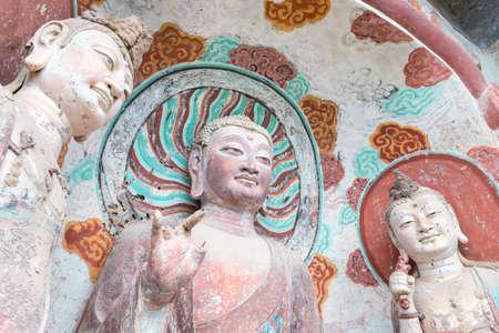 Maiji mountain grottoes closeup, tianshui city, gansu province, China Editorial