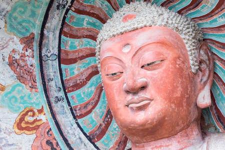 figure of buddha in maiji mountain grottoes, world cultural heritage in tianshui city, gansu province, China