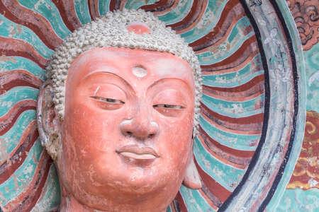 buddhist statue closeup in maiji mountain grottoes, world cultural heritage in tianshui city, gansu province, China