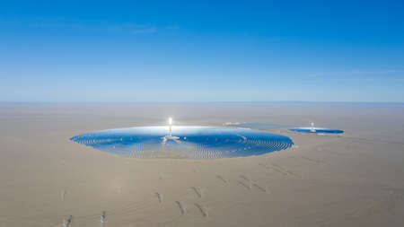 panoramic view of molten salt tower solar thermal power station, dunhuang city, gansu province, China
