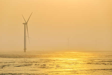 wind farm in mist early morning, sustainable energy background