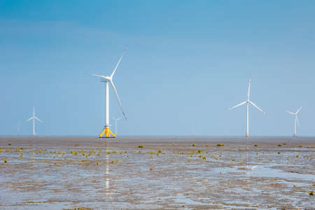 wind farm on tidal flat wetland with haze weather, clean energy background