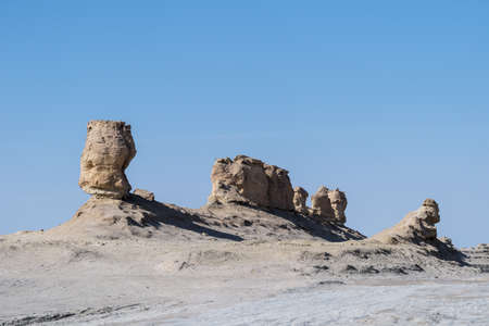 wind erosion terrain landscape, yardang landform in tsaidam basin, qinghai province, China.