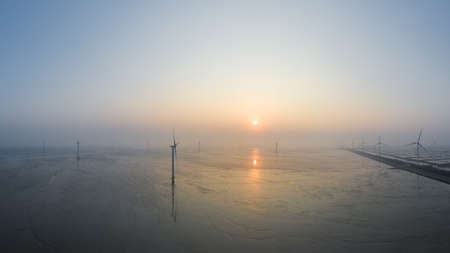 aerial view of wind farm in sunrise on mud flats wetland, new energy landscape, jiangsu province, China.