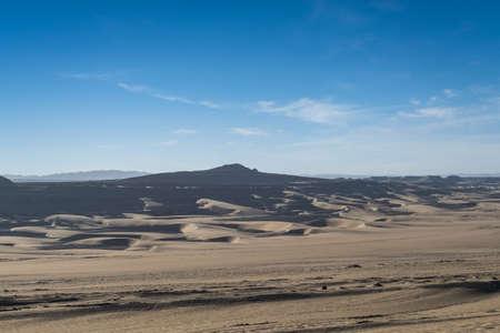sandy desertification land landscape, western China. Imagens