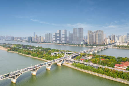 aerial view of the beautiful changsha cityscape and the bridge on xiang river, hunan province, China