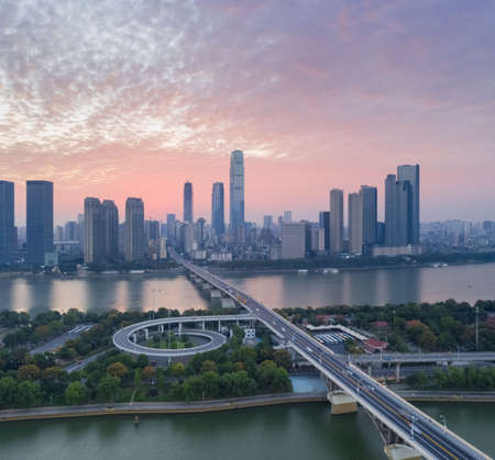 aerial view of the changsha cityscape in early morning, hunan province, China