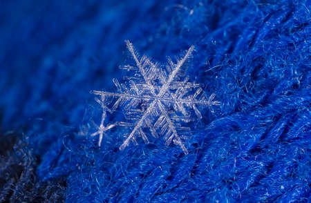 natural snowflakes on a knitted mitten Stock Photo