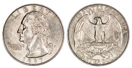 quarter dollar USA, coin, isolated Banque d'images