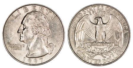 quarter dollar USA, coin, isolated Archivio Fotografico