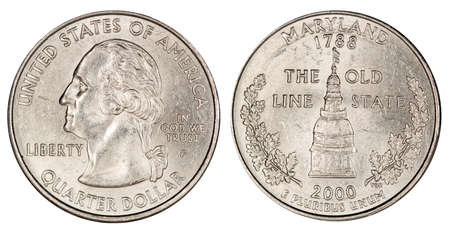 quarter dollar USA, coin, isolated Foto de archivo