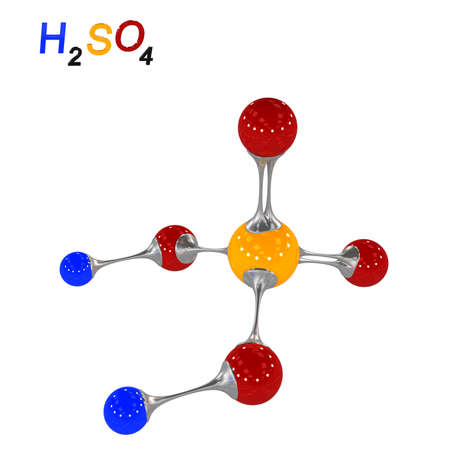 molecule sulfuric acid, 3D illustration