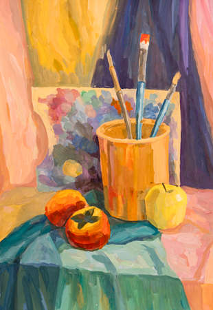 watercolor painting, still life
