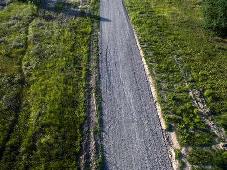 road of small gravel, aerial photography