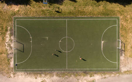 football field, sports ground, view from above