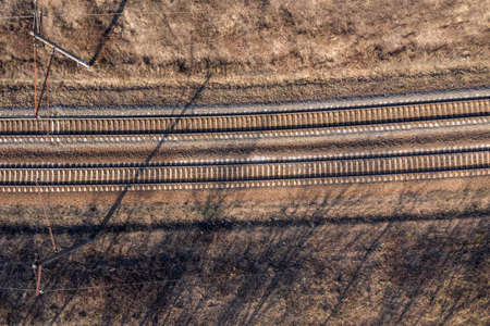 railway rails, view from above
