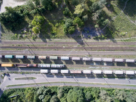 railway, trains with wagons, view from above