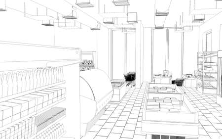 grocery store sketch 3D illustration Stock Photo