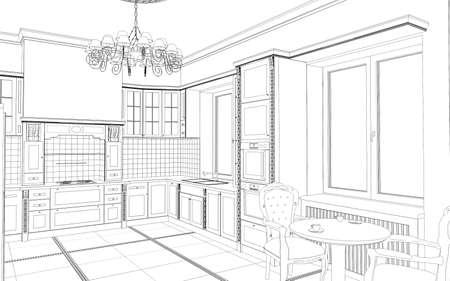 interior contour visualization, 3D illustration, sketch, outline Banco de Imagens