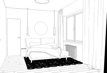 bedroom, contour visualization, 3D illustration, sketch, outline