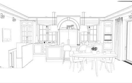 interior contour visualization, 3D illustration, sketch, outline