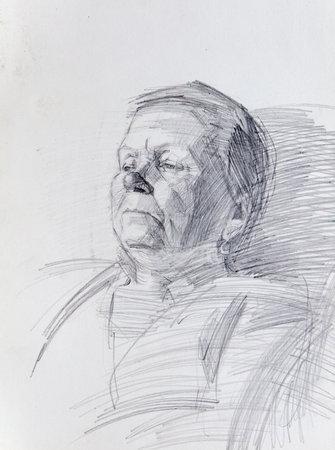pencil drawing illustration, portrait, sketch