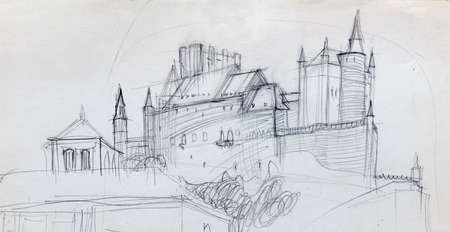 architecture, pencil drawing illustration, sketch