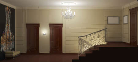 residential interior visualization, 3D illustration Archivio Fotografico