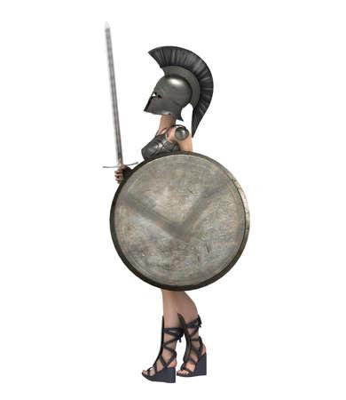 warrior woman character, 3D rendering, illustration