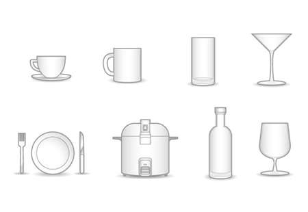 rice wine: 8 household vector collection. Illustration