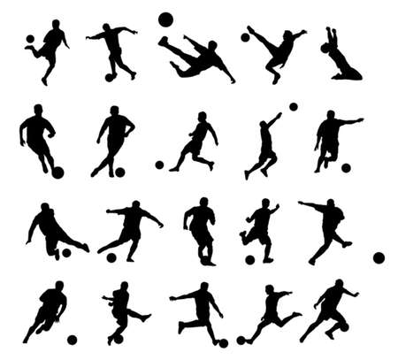 20: 20 soccer poses silhouette. Illustration