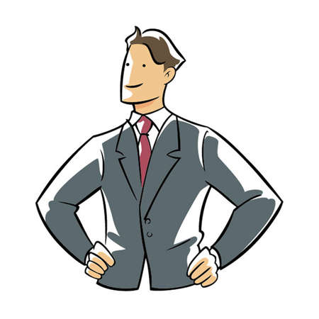 confident: Confidence executive hands on hip. Illustration