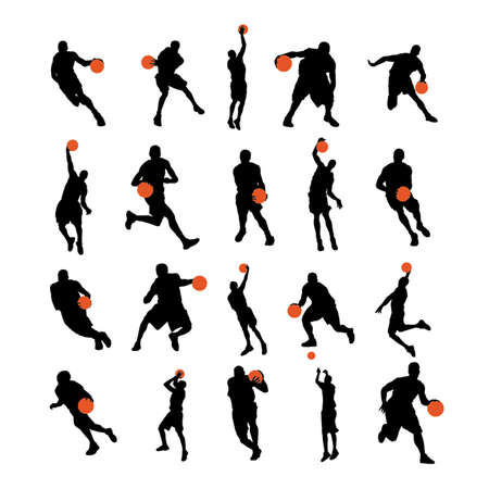 Basketball players 20 poses silhouettes Vector