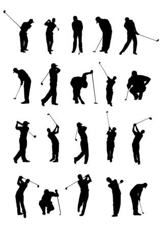 20 golf poses silhouette. Vector