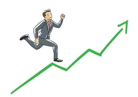 hombres ejecutivos: Ejecutivo de confianza que se ejecutan en una flecha de sensibilización Vectores
