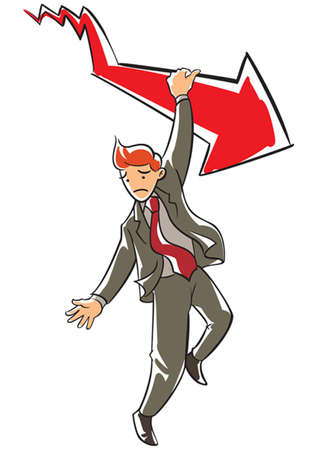 Frowning executive hanging on a falling red arrow Illustration